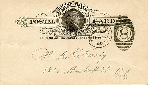 U.S. Scott UX9 Used 1 Cent Postal Card Picturing Thomas Jefferson