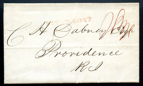 U.S. 1838 Stampless Cover via Steamboat from NYC to Providence, RI