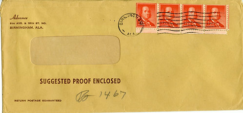 U.S. Scott 1030 (4) on Cover Paying Third-Class Single Piece Rate