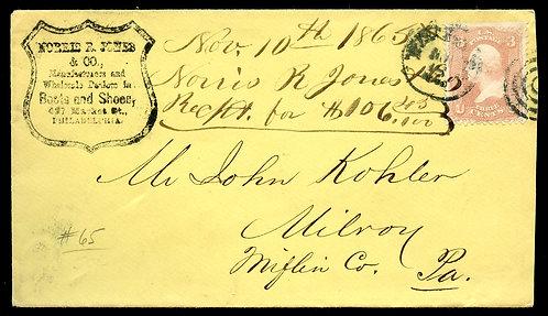 U.S. Scott 65 on 1865 Morris R. Pines Shoes Cover from Philadelphia, PA