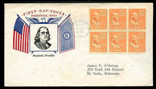 U.S. Scott 803 (6) Fidelity FDC Post Marked in Philadelphia, PA