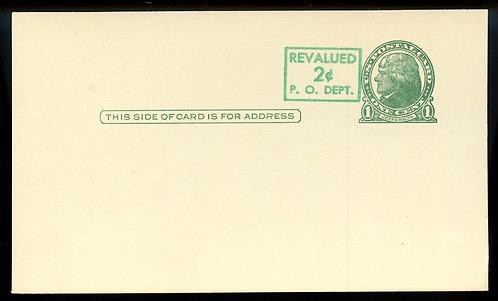 U.S. Scott UX39 Unused Postal Card Picturing Jefferson Revalued to 2c