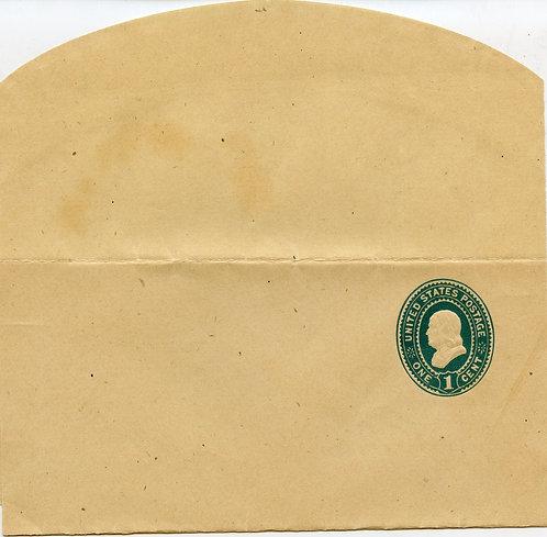 U.S. Scott W303 1 Cent Unused Stamped Wrapper Entire Picturing Benjamin Franklin