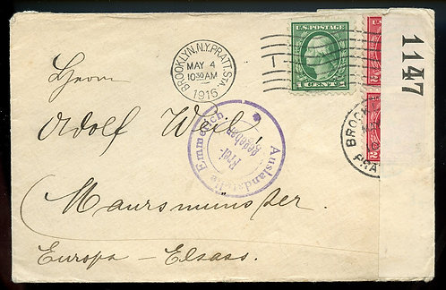 U.S. Scott 424 and 425 (2) Washington-Franklins on 1916 Censored Cover to Europe