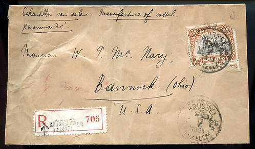 Belgium Scott 116 On Registered Cover to Bannock, Ohio