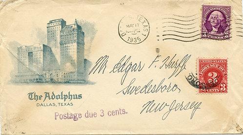 U.S. Scott 720, J81 on 1935 Ad Cover for the Adolphus Hotel in Dallas, Texas