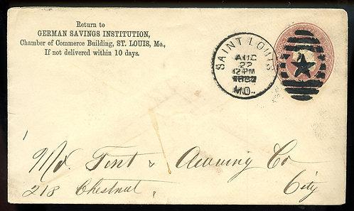 U.S. Scott U277 1887 Stamped Envelope w/St. Louis Star Fancy Cancel