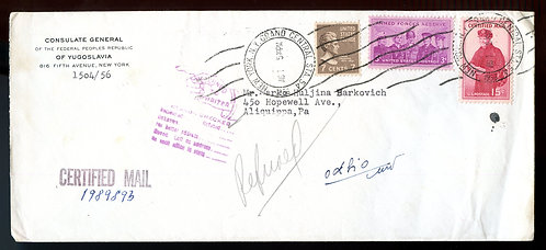 U.S. Scott 812, 1067, and FA1 on Certified Mail Returned to Sender