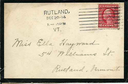 U.S. Scott 406 on 1914 Mourning Cover Sent from Rutland, Vermont