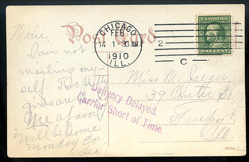 "U.S. Scott 331 on 1910 Post Card w/""Delivery Delayed Carrier Short of Time"" Mark"