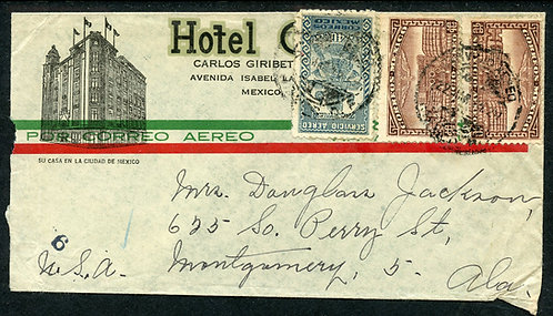 Mexico Scott C66 (2) and C70 On Air Mail Cover to Montgomery, Alabama