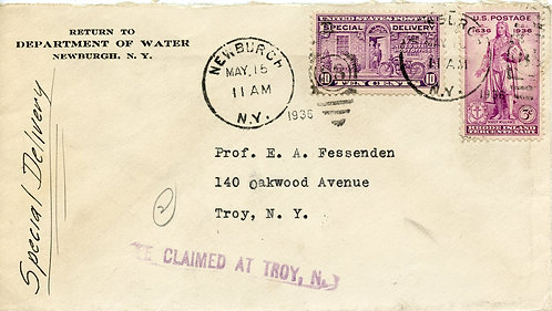 U.S. Scott 777 RI Tercentenary and E15 Special Delivery Cover to Troy, NY