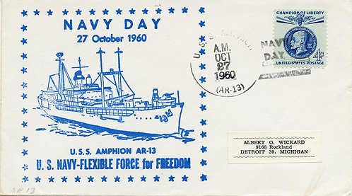 U.S. Scott 1147 On 1960 U.S.S. Amphion Navy Day Cover