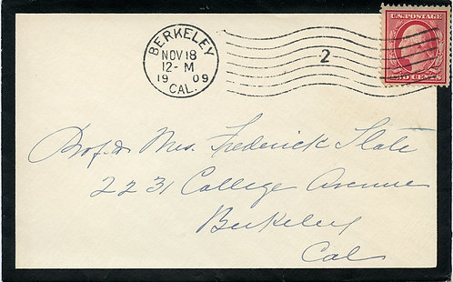 U.S. Scott 332 on 1909 Mourning Cover Sent from Berkeley, California