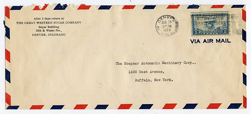U.S. Scott 650 on 1929 Airmail Cover