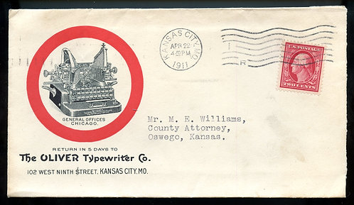 U.S. 2 Cent Washington on 1911 Ad Cover for Oliver Typewriter Co.
