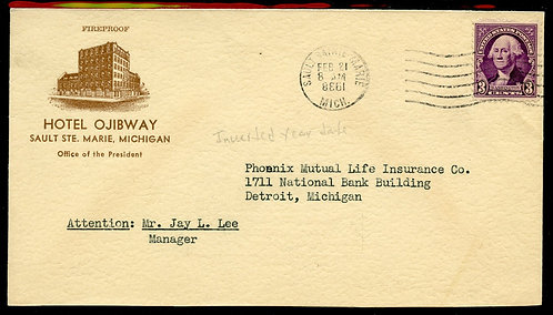 U.S. Scott 720 on 1938 2-sided Ad Cover for Hotel Ojibway w/Inverted Year Date