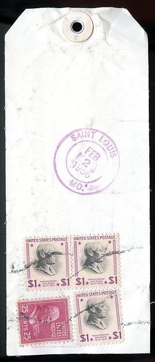U.S. Scott 832 (3) and 829 Prexies on Registered  Illinois Bank Tag