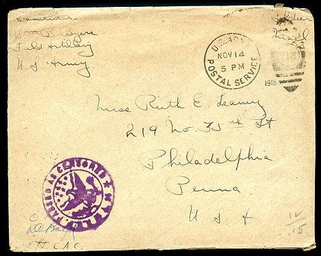 World War I Soldier's Mail Sent November 14, 1918 to Philadelphia, PA