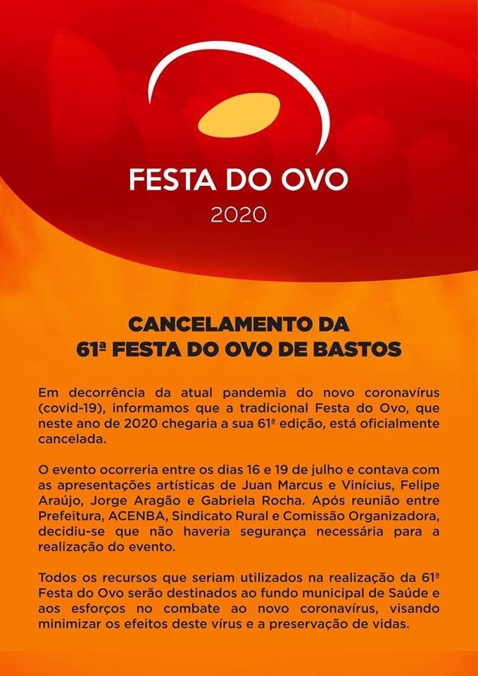 FESTA DO OVO - CANCELAMENTO 61º FESTA DO
