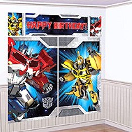 Transformers birthday party scene setter wall decorating kit - over 6 feet tall !