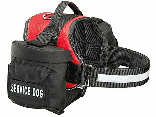 Dog Harness with 2 Removable Saddle Bags & 2 Removable Patches.