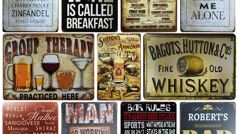 WINE/Whiskey Metal Sign Bar Wall Decor Vintage Metal Crafts Painting Plaques