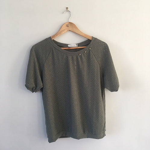 T-shirt broderie anglaise kaki