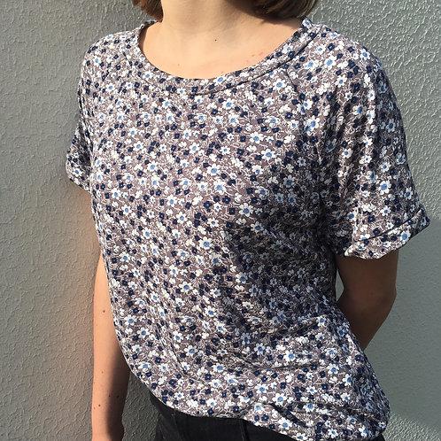 T-Shirt Petites fleurs taupe