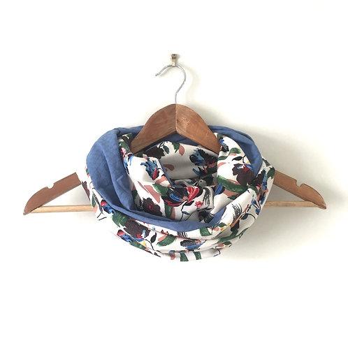 Snood danse des fleurs et coton bleu