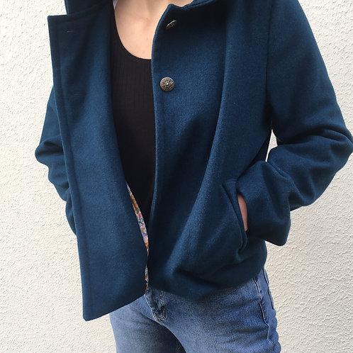 Veste en lainage bleu canard