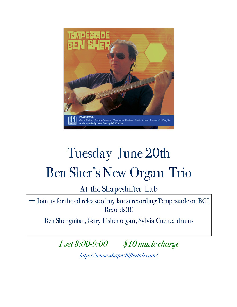 """proud to announce the official """"CD Release"""" concert feraturing my New Organ Trio!"""