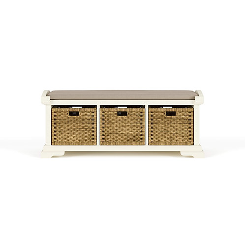 Homestead Bench W/ Rattan Baskets - WHD LDT