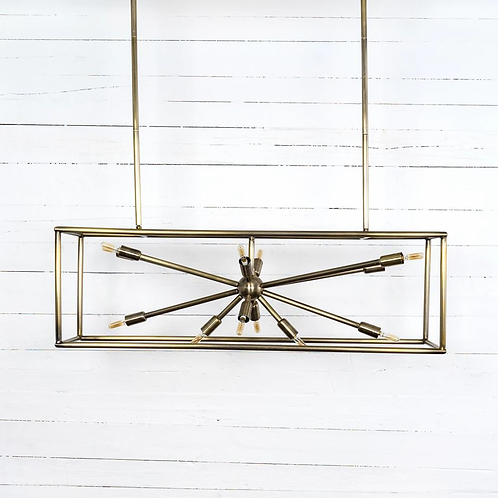 Jaxon rectangular Chandelier- Antique Brass
