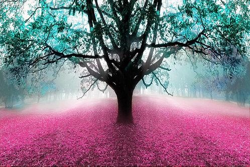Tree pink leaf tempered glass