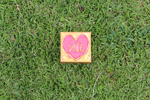 Chi Omega Small Heart Canvas