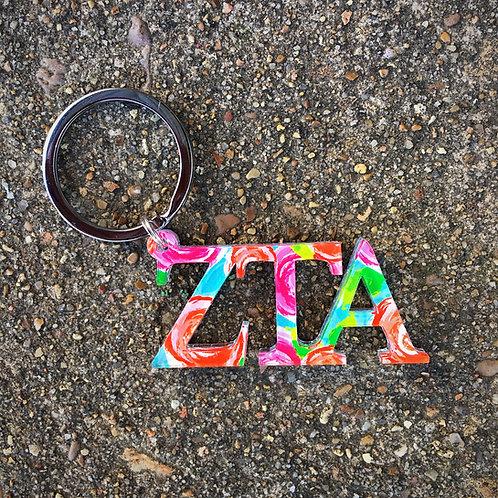 Zeta Tau Alpha Floral Keychain