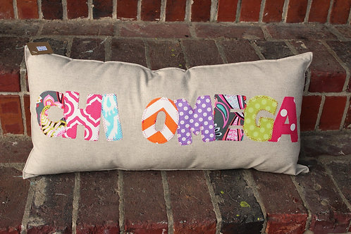 Chi Omega Large Applique Pillow