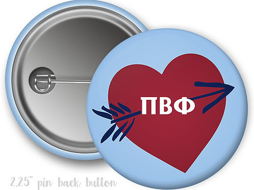 Pi Beta Phi Heart Pin Button
