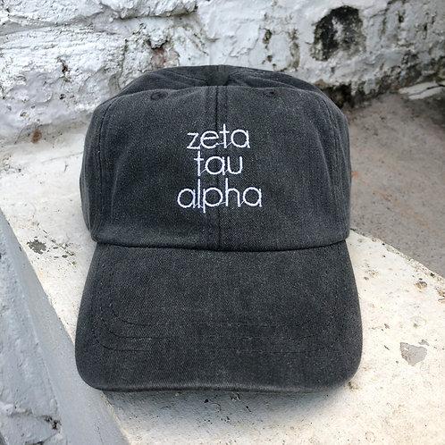 Zeta Tau Alpha Grey Block Hat