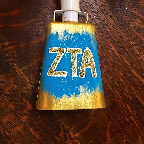 Zeta Tau Alpha Abstract Glitter Cowbell