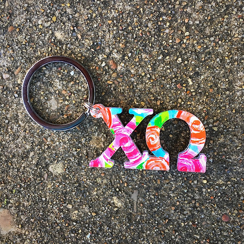 Chi Omega Floral Key Chain