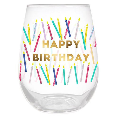 Happy Birthday with Candles Wine Glass