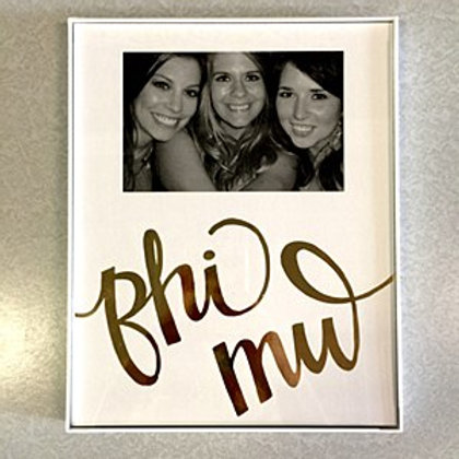 Phi Mu Gold & White Picture Frame