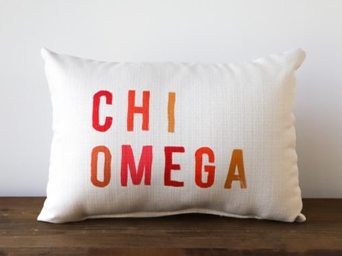 Chi Omega Colored Block Pillow