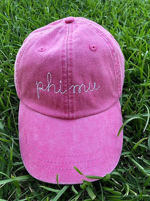 Phi Mu Sorority Script Hat