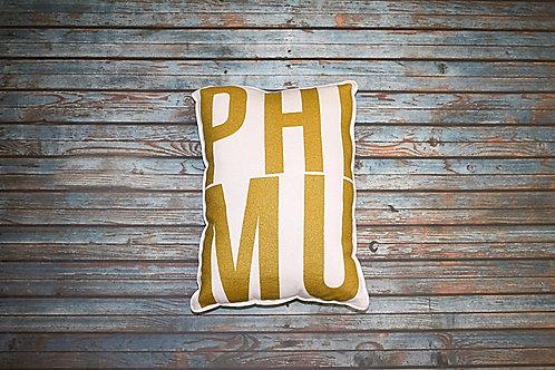 Phi Mu Gold Shimmer Pillow