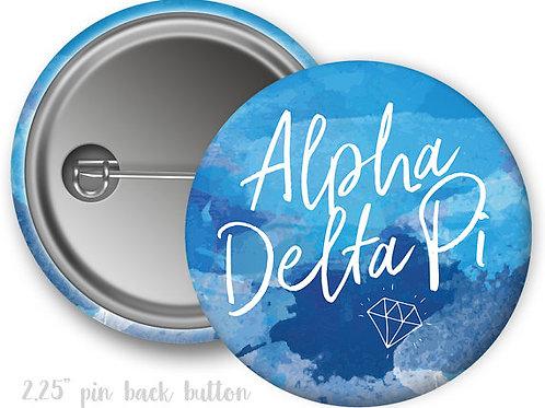 Alpha Delta Pi Watercolor Script Pin Button