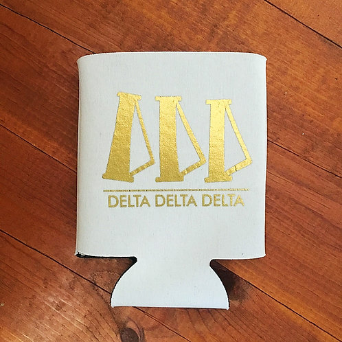 Delta Delta Delta White and Gold Koozie