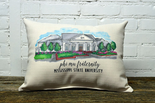 Phi Mu House Sorority Pillow